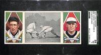 HIGH GRADE 1912 T202 Hassan Triple Folder Walter Johnson & Jack Knight Graded SGC 7 NM (Knight Catches a Runner)