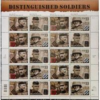 #3393-96 Distinguished Soldiers Mint Sheet of 20 Stamps