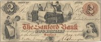 Sanford Sanford Bank 1860 $2 S-134 21 535-G8a 1380-G40 This well circulated example has relatively clean surfaces with full frame lines & very good centering; overprinted with a red protector at right and bank name at center F