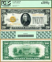 US Currency 1928 $20 Gold Certificate FR-2402 PCGS Graded Choice New 63PPQ S/N A19877271A