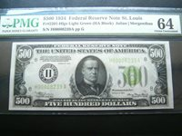 FR 2201-H $500 LIGHT GREEN SEAL **GREAT EMBOSSING** PMG CHOICE UNCIRCULATED 64