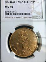 1874 MEXICO 20 gold peso coin, Guanajuato mint, MS 60 uncirculated!