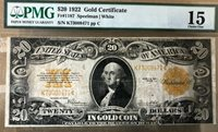1922 $20 banknote, gold certificate PMG 15