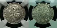 NGC--UNC**1867 PAPAL State Pivs IX Silver 10 Soldi (50 cents)**Great details
