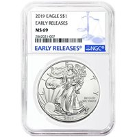 2019 1 oz Silver American Eagle Coins NGC MS69 ER