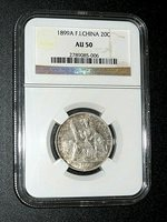 1899A, French Indo-china, 20 Cents, NGC AU-50