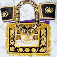 EMBROIDERED GRAND LODGE PAST MASTER APRON WITH COLLAR & CUFFS PURPLE-HSE