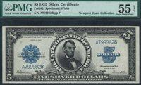 Fr.-282 1923 $5 Silver Certificate Porthole Note. A799982A PMG-55EPQ
