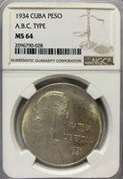 1934 ABC Peso – NGC MS64 – HIGH GRADE!!!