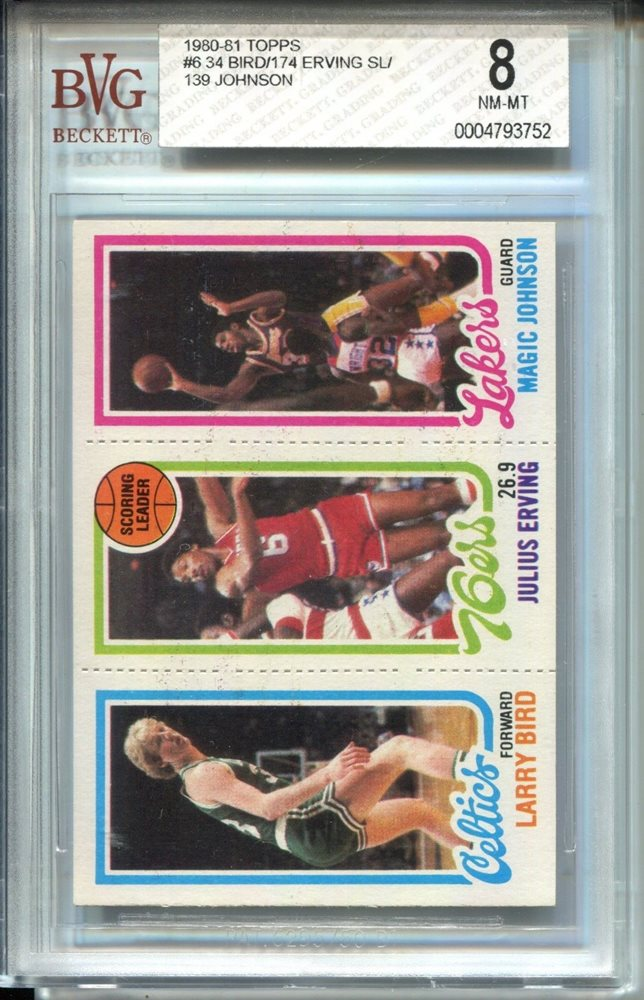 1980 Topps Larry Bird Magic Johnson Rookie Card Bvg 8 Dr J Julius Erving