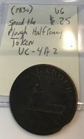 """1830 Halfpenny, Canadian Token, """"Speed the Plough, Very Good Condition, UC-4A2"""