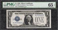 1928 Plain $1 Funny Back Silver Certificate - PMG Gem Uncirculated CU 65EPQ C2C