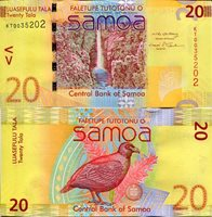 "Samoa 20 Tala Pick #: 40 2008 UNCOther Banknote of the Year 2008 Yellow Waterfall; Bird (believe it to be a partridge)Note 5 1/2"" x 2 3/4 "" Australia and the South Pacific Man's face in profile"