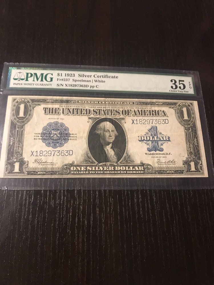 1923 silver certificate horse blanket Pmg 35