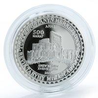 Turkmenistan 500 manat Enev Mosque XV century silver proof coin 2000
