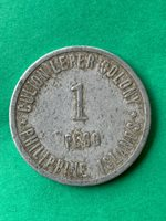 PHILIPPINES CULION LEPER COIN 1913 ONE PESO TYPE I THICK PLANCHET KM-14 #322