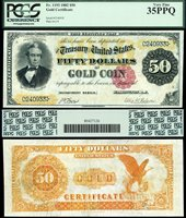 US Currency 1882 $50 Gold Certificate FR-1193 PCGS Graded VF35PPQ S/N C240933