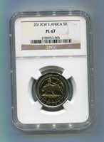 SOUTH AFRICA 2013 R5 OOM PAUL CW PL 67 COIN NGC SLABBED - PROOF LIKE COIN