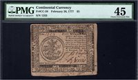 $5 Feb 26, 1777. CC-58. PMG Choice Very Fine 45, with Taylor/Norris signatures. Jumbo margins! Serial 1253.