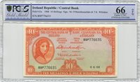 Irland 10 Shillings Lady Lavery 1968 Pcgs 66 Opq