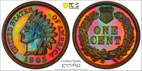 Vibrant Multi-colored 1905 Proof Indian Cent 1905 Indian Cent PCGS Gold Shield PR-66BN.