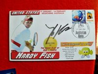 USA TENNIS STAR MARDY FISH SIGNED 2004 AUS OPEN TENNIS COVER