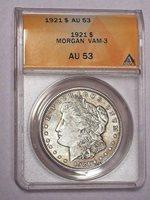 1921 Morgan Silver Dollar VAM-3 ANACS AU 53 #951