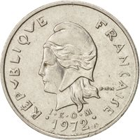 New Caledonia, 10 Francs, 1972, Paris, EF(40-45), Nickel, KM:11