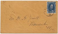 CSA #4 Stone 3 Position 35Very Dark Blue (margin touches at right) tied by the small doublecircle Augusta, GaCDS 3 JUN (1862). Orange paper cover addressed to Mr. D. A. Jewell,Warrenton, Ga. Very clean cover. Ex-Tate.