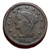 1845 Braided Hair Large Cent *Free Shipping*