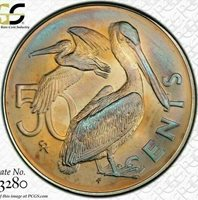 1974-FM BVI 50 CENTS BU PCGS MS66 COLOR TONED COIN ONLY 2 GRADED HIGHER