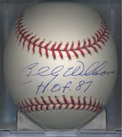 Billy Williams Oakland Athletics HOF 87 Autographed Signed OML Baseball Chicago Cubs COA