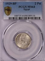 PCGS-MS64 1929 EGYPT 2PIASTRES SILVER LUSTER