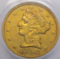 1850 C 5 Dollar Half Eagle PCGS XF-45 Charlotte Gold