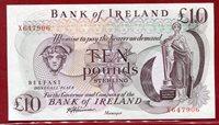 10 Pfund Pounds Banknote 1980 es Nd Nordirland Northern Ireland Belfast Bank of Ireland Schiff sig Harrison Pref X !