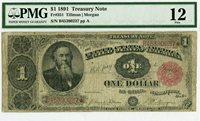 Fr 351 $1 1891 Treasury Note // PMG 12 Fine