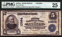 $5 1902 PB First National Bank of Ashley North Dakota CH 10864 PMG 25 TOUGH BANK