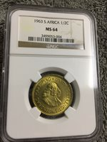 South Africa 1/2 Penny 1963 MS64 NGC bronze