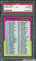 1975 Topps #126 CHECKLIST 1-132 PSA 10 GEM MINT Very Low Pop 1/2!