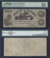 FLORIDA STATE $50.00 1862 PMG 25