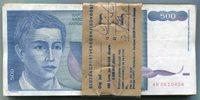Yugoslavia Bundle of 100 Notes P106 500 Dinara VF Condition 1990 Banknotes