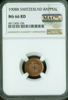1908-B SWITZERLAND RAPPEN NGC MAC MS-66 RD PQ SPOTLESS SOLO FINEST RARE .