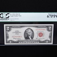 $ 2 1963 Legal Tender Note, PCGS 67 PPQ Superb Gem New, Fr#1513