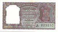 India 2 Rupees 1962-1967 P#30