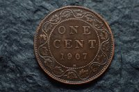 1907 H, One cent, Canada, Free shipping in Canada