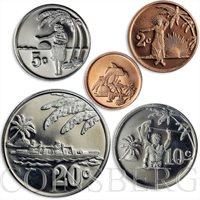 Tokelau, set of 5 coins, local population, palm trees, 2012
