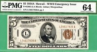HAWAII 1934A $5 FRN - PMG CU 64 - Fr 2302 - 1934 A - PMG CU 64 $5 HAWAII FRN