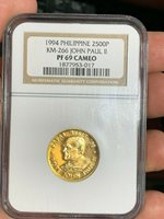 PHILIPPINES 1995 2500 PESO POPE JOHN PAUL II VISIT GOLD PROOF NGC PF 69 CAMEO