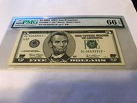 GEM/UNC $5 SAN FRANCISCO 2003 STAR FEDERAL RESERVE NOTE PMG 66 EPQ ...