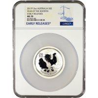 2017 2 oz Silver Australian Lunar Rooster Coins NGC MS70 ER
